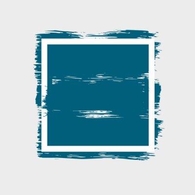 Rama z atramentem niebieski ręcznie rysowane tekstury pociągnięcia pędzla z ostrymi krawędziami. Abstrakcyjne tło. Ilustracja wektorowa na białym tle.