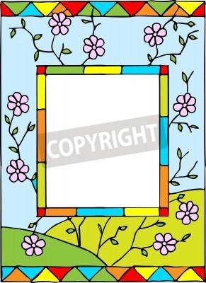 Naklejka Rama z wiosennych kwiatów. Stylizowany witraże. ilustracji wektorowych.