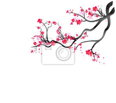 Naklejka Ramka akwarela sakura. Tło z gałąź czereśniowego drzewa. Ręcznie rysowane japońskie kwiaty tło