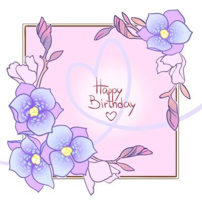Ramka z egzotycznymi kwiatami na białym tle, szczęśliwy kartka urodzinowa.