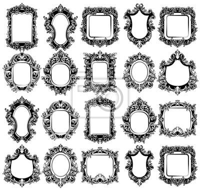 Naklejka Ramki Baroque Mirror świetnie prezentują się w kolekcji. Wektor Francuski luksusowy bogaty skomplikowanych ozdób. Dekory w stylu wiktoriańskim Royal Style