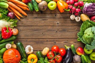 Naklejka Ramki z bukietem świeżych warzyw