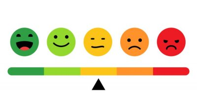 Naklejka Rank, level of satisfaction rating. Face icons, Feedback in form of emotions. User experience. Review of consumer. Scale with colored segments. Vector Isolated illustration