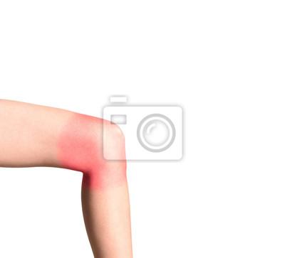rannych lewe kolano, czerwony znak na obszarze boli, na białym tle