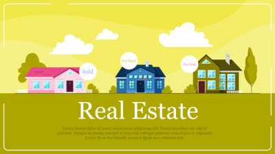 Real estate banner concept. Idea of house for sale and rent.