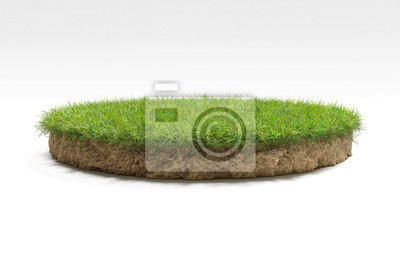 Naklejka realistic 3D rendering circle cutaway terrain floor with rock isolated, 3D Illustration round soil ground cross section with earth land and green grass