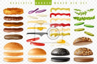 Naklejka Realistic burger maker big transparent background set
