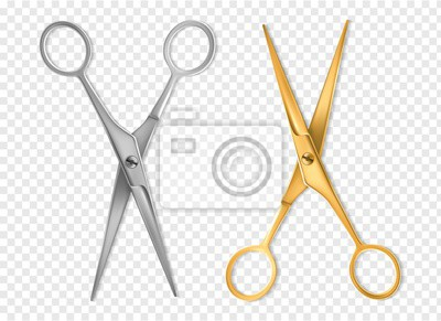 Naklejka Realistic scissors. Silver and gold metal classic scissors tool mockup, hairdresser or tailor instrument isolated vector set