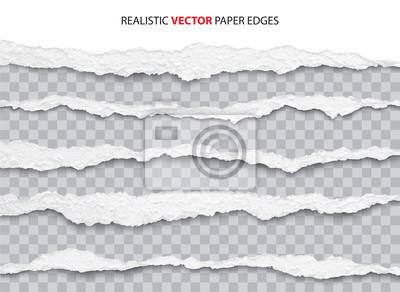 Naklejka realistic torn paper edges vector