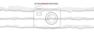 Naklejka realistic torn paper edges, vector illustration