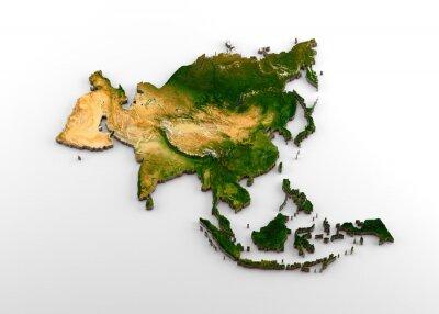 Naklejka Realistyczna wytłaczana mapa kontynentu azjatyckiego 3D (w tym subkontynent indyjski, Azja Wschodnia, Rosja i Bliski Wschód)