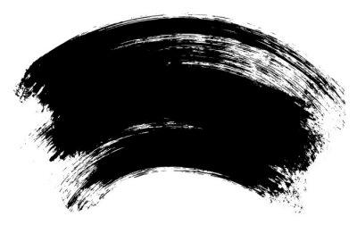 Realistyczne czarna szczotka skok tekstury. Tusz handpaint ilustracji, samodzielnie na białym tle.