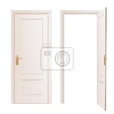 Realistyczne i otwarte drzwi na białym tle. Vector design