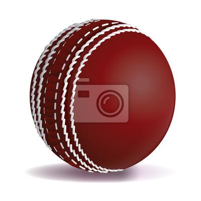 Realistyczne Red Cricket Ball Pojedynczo na białych ilustracji