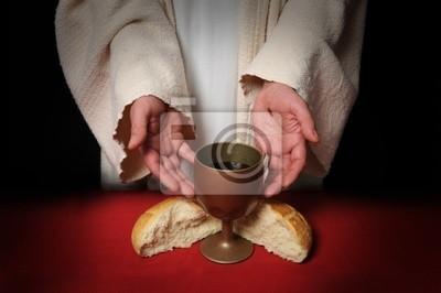 Ręce Jezusa oferujących wino i chleb komunii