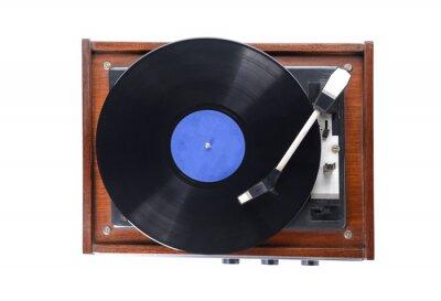 Naklejka Record player with vinyl disc on white background