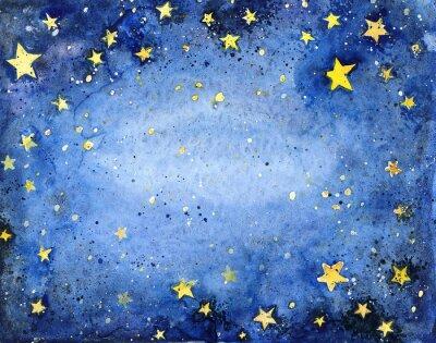 Naklejka Ręcznie malowane akwarela niebieskie niebo z jasnymi gwiazdami