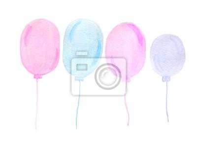Ręcznie malowane akwarela prawdziwe balony różowe i niebieskie na białym b