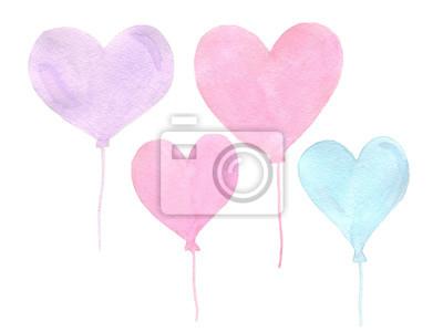 Ręcznie malowane akwarela prawdziwe serce różowe i niebieskie balony na AW