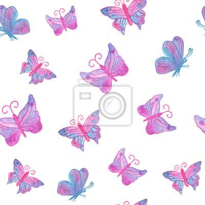 Ręcznie malowane akwarela rzeczywistym różowy niebieski motyl - bez szwu patt