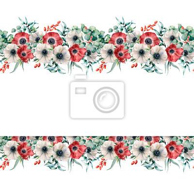 Ręcznie malowane kwiaty z liści eukaliptusa i gałęzi, jagody na białym tle. Kwiecista elegancka ilustracja dla projekta, druk