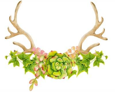 Ręcznie malowane rogów jelenia. Styl Boho dla swojego projektu. zaproszenia ślubne, karty Valentines Day, ect