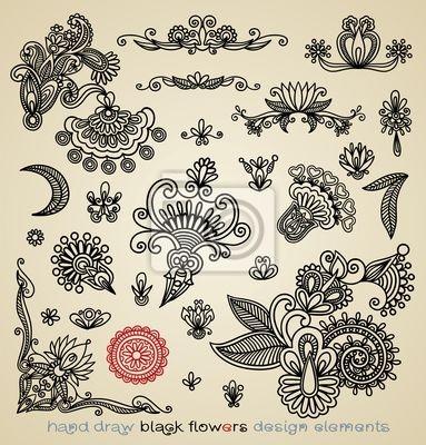 ręcznie narysować czarne kwiaty elementów
