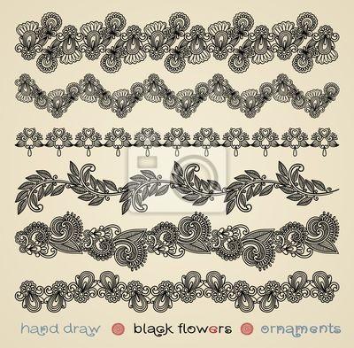 ręcznie narysować czarne kwiaty ozdoby
