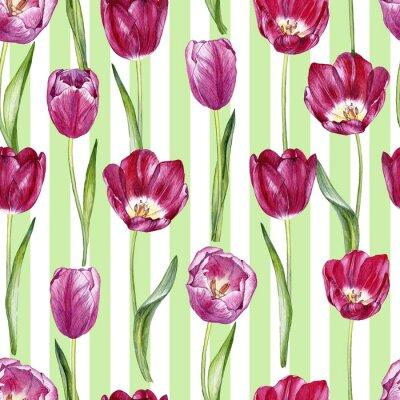 Naklejka ręcznie rysowane akwarela bezszwowe wzór z tulipanów