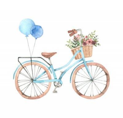 Naklejka Ręcznie rysowane akwarela ilustracja - romantyczny rower z koszem kwiatów w pastelowych kolorach. Rower miejski. Amsterdam. Idealne na zaproszenia, kartki okolicznościowe, plakaty, wydruki