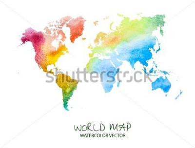 Naklejka ręcznie rysowane akwarela mapa świata na białym tle. Wersja wektorowa