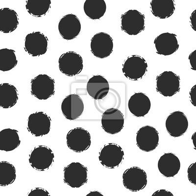 Ręcznie rysowane bezszwowe szczotka kropki wzór. Monochromatyczne tło