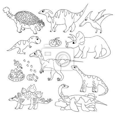 Ręcznie rysowane dinozaur ilustracji wektorowych