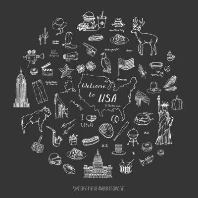 Naklejka Ręcznie rysowane doodle ilustracji wektorowych USA ustawić Sketchy ikony amerykańskich Stany Zjednoczone Ameryki elementów Flag Statua Wolności Eagle Fast Food Corn wieżowiec Deer Bison kowbojski kape
