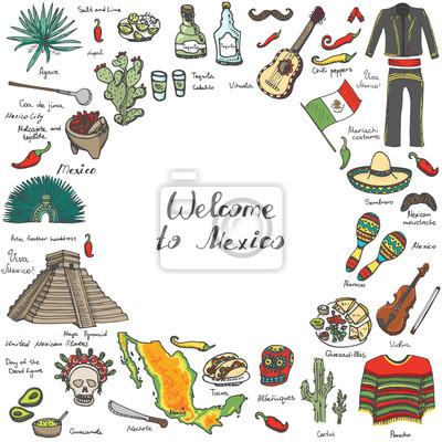 Naklejka Ręcznie rysowane doodle Meksyk ustawić ilustracji wektorowych Sketchy ikony Meksykańskie jedzenie Meksykańskie Stany Zjednoczone elementy Flag marakasy Sombrero Viva Mexico Maya Pyramid Azteków Tequil