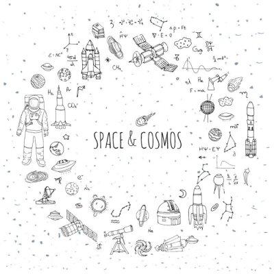 Naklejka Ręcznie rysowane doodle Przestrzeń i Kosmos ustawić ilustracji wektorowych Universe elementy kolekcji ikon miejsca koncepcji rakietowe symbole statek kosmiczny planety Układu Słonecznego Galaktyka Mil