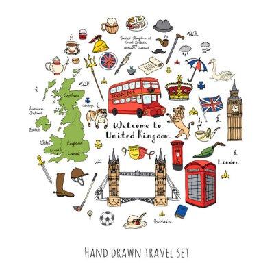 Naklejka Ręcznie rysowane doodle Wielka Brytania ustawić ilustracji wektorowych brytyjskie ikony Zapraszamy do elementów Londynie brytyjska kolekcja symbole herbaty Bus Jazda konna Golf Korona Piwo Lion Bulldo