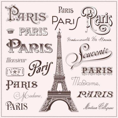 Naklejka ręcznie rysowane elementy projektu Paris