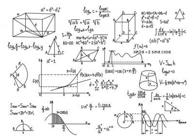 Naklejka Ręcznie rysowane geometryczne wzory edukacji wiedza nauki.