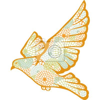 Ręcznie rysowane gołębia wykonana z wektorów kwiat wzór.