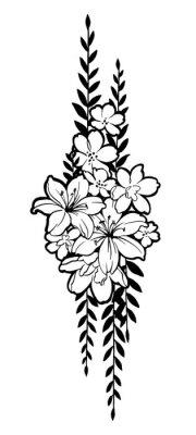Ręcznie rysowane grupę z kwiatami do udekorowania. Czarny tusz na białym tle. Może być stosowany do dekorowania kartek pocztowych, tatuaż, grawerowanie, akwaforta, ozdobić T-szorty, tuniki, torby.