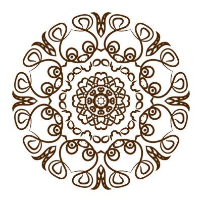 Naklejka Ręcznie rysowane henny tatuaż mandalę. Wektor koronki dekoracyjnego.