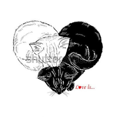 Naklejka Ręcznie rysowane ilustracja czarno-białych kociąt spanie w kształcie serca, projekt Valentin Day, miłość