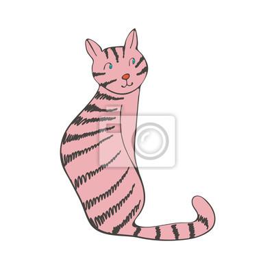Naklejka Ręcznie rysowane ilustracji cute kota domowego