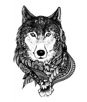 Naklejka Ręcznie rysowane ilustracji wektorowych streszczenie wilk