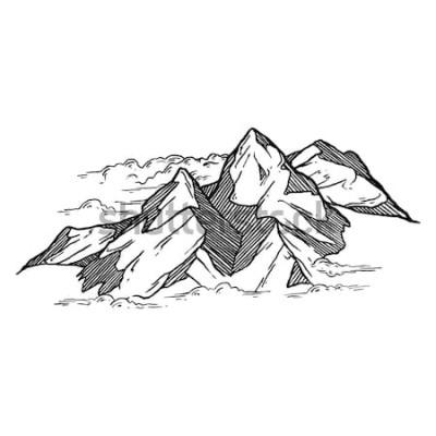 Naklejka ręcznie rysowane iluustration wektor gór