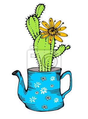 Ręcznie rysowane kaktus z kwiatów w czajnik, odizolowanych