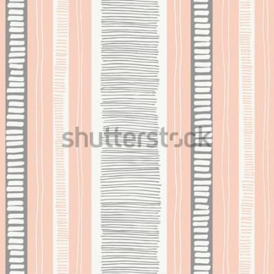 Naklejka Ręcznie rysowane kapryśny teksturowane organiczne linie i paski wektor wzór. Świeży streszczenie geometryczne. Bazgroły.