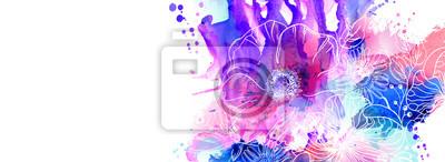 Ręcznie rysowane kwiatowe ilustracje. Abstrakcyjna różowe, purpurowe i niebieskie blots Akwarele rozłożone na białym tle z oddziałów kwiatów i maku.