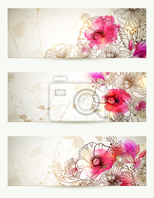Ręcznie rysowane kwiatowy vintage, ilustracji. Zestaw trzech tła z kwiatami oddział i maków. Abstrakcyjna Akwarele blot.